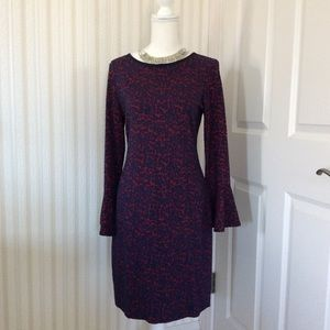 Flocked Dress with Fluted Sleeves Size 8